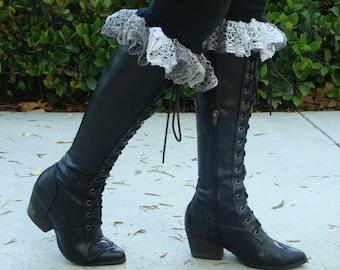 DIY- Knitting PATTERN #123: Knit ruffle top boot cuff pattern, Boot cuff pattern includes 4 sizes, Instant Download PDF Pattern