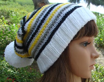 DIY - Knitting PATTERN #175: Striped Beanie with fold up brim and Pom- pom pattern, Beanie Pattern, Size Teen/Adult- PDF Digital Pattern