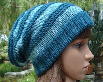 DIY - Knitting PATTERN #178: Striped Slouchy with fold up brim pattern, Striped Slouchy Pattern, Size Teen/Adult - PDF Digital Pattern