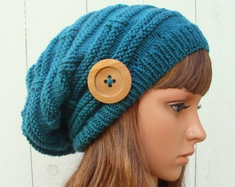 """DIY - Knitting PATTERN #32: Womens Knit Slouchy Hat embellished with a 2"""" natural wood button, Knit Slouchy Pattern - PDF Digital Pattern"""