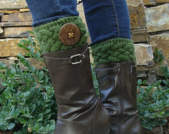 DIY- Knitting PATTERN #136  Knit Cable Boot Cuffs with Coconut Button, Boot Cuff Pattern Incl 3 Sizes, Instant Download PDF Pattern