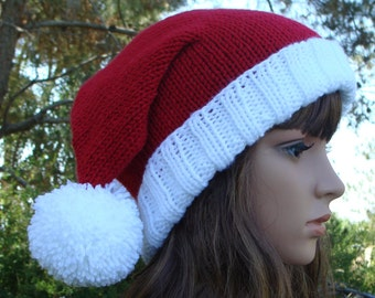 8ec58a2360764 Knit Santa Hat with fold up brim and Pom-Pom Santa Hat