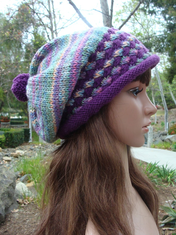 80f9e987001ac Ready to Ship  Hand knit hat with Pom-pom slouchy knit hat