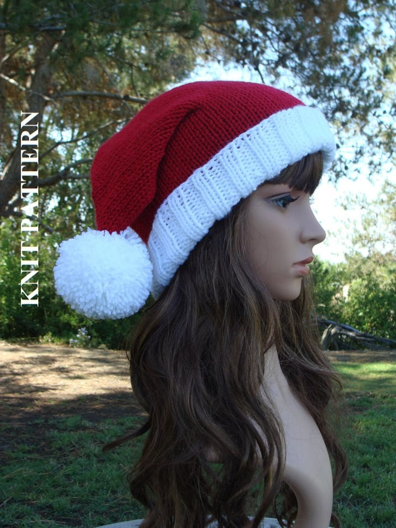b25947fc0508a DIY Knitting PATTERN 97  Double Pom-Pom Santa Slouchy