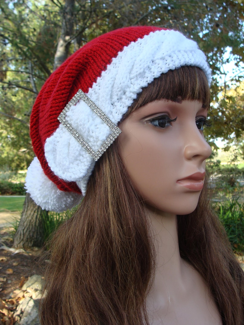 Santa Hat Bling Santa Cable Band Knit Hat with Pom-pom Size TeenAdult