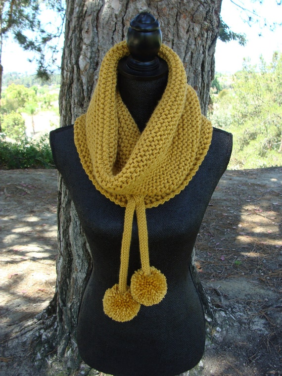 Diy Knitting Pattern 81 Chunky Knit Cowl With I Cord Etsy