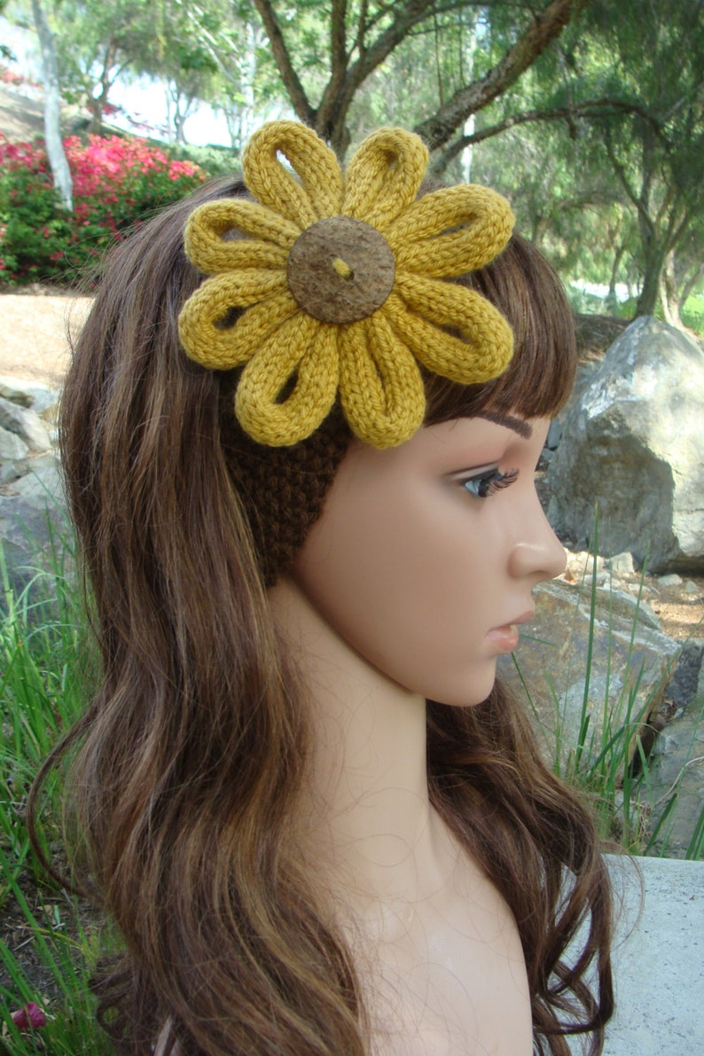 DIY Knitting PATTERN 75: Womens Knit Sunflower Headband | Etsy