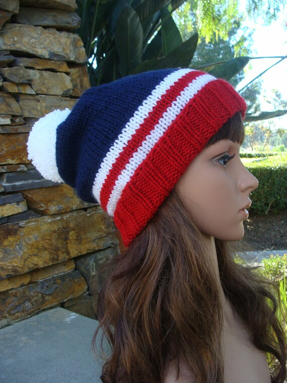 Flag Skull Cap Hat July 4th Hats Red White Blue Anytime Scarf Americana Knit Slouchy Flag Hat Slouchy Hats