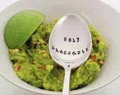 HOLY GUACAMOLE Stainless Steel Stamped Spoon Vegan Avocado Gift Foodie Gift Food Gift Fiesta Vegetarian Gift for Her