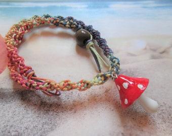 Custom Hemp Jewelry Layering Hemp Necklace Custom Hemp Necklace with Glass Orange Mushroom Pendant Boho Hippie Mushroom Pendant Retro
