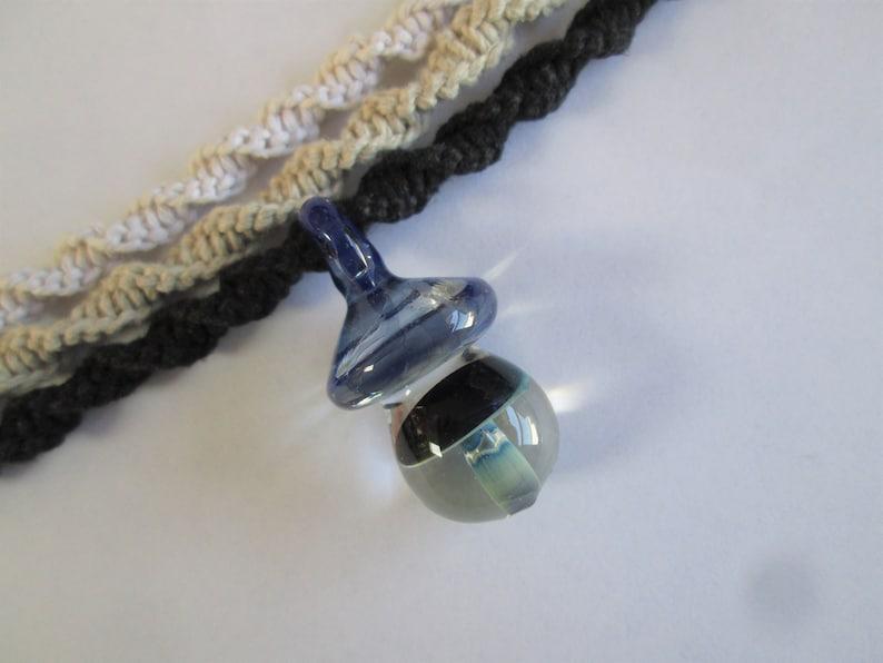 Mushroom Handmade Hemp Spiral Necklace with Hand Blown Glass Double Mushroom Pendant in Your Choice of Hemp Color /& Length