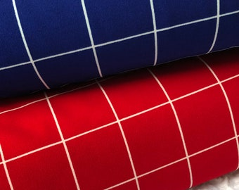 """Techno Crepe Windowpane Red and Royal 58/60"""" Wide Apparel Fabric by the Yard/Half Yard"""