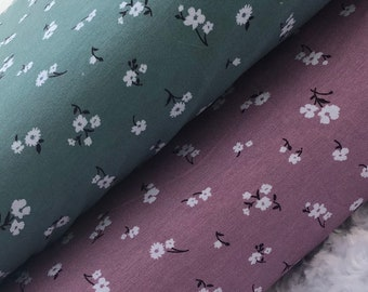 """Rayon Spandex Jersey Knit Small Flowers on Mint and Mauve 58/60"""" Wide Apparel Fabric by the Yard/Half Yard"""