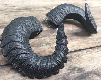 """Ready to Ship - Black Horns """"Poe"""" - Gothic Satyr Horns - rugged, wearable cosplay costume horns - Krampus - Goth"""