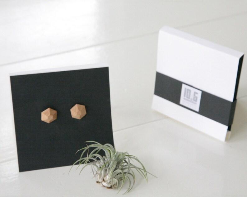 Hexagonal geometric earrings earring wooden jewelry