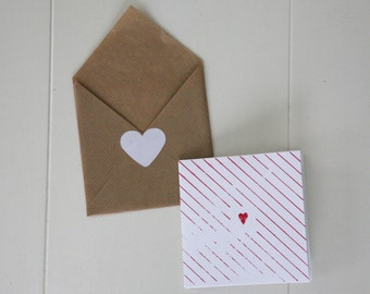 greeting card with enveloppe | heart | valentine | I love you | red