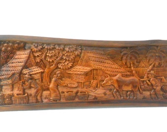 """Wood Carving Old Thai Village Life Culture Hand Carved wood Natural Teak Wood Home Wall Hanging Art Decor / Gift 25""""X10"""""""