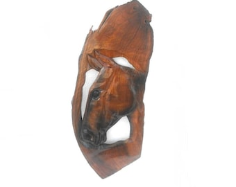 """Wood Carving Horse Head Hand Carved Natural Old Teak Wood Art Home Decor / Gift 24""""X9.5"""""""