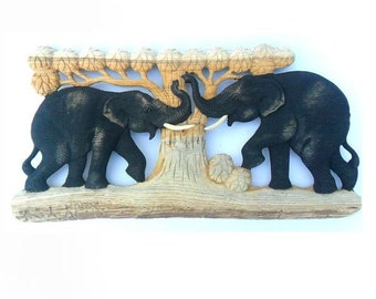 """Natural Teak Wood Carving Of Two Elephants In The Forest Tree Wall Hanging Home Art Decor Hand Carved Elephant / Gift 10""""X20"""""""