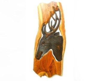 "Wood Carving Deer Head Natural Teak Wood Hand Carved  Wall Hanging Art Home Decor / Handmade Gift 23"" X 9.5"""