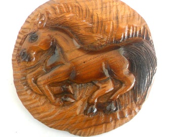 """Handmade Natural Teak Wood Round Shape Hand Carved Horse Wood Carving Wall Hanging Art Home Decor 7.75""""x0.75"""""""