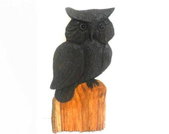 "Natural Teak Wood Handmade Carving Owl Bird Art Home Handicrafts Wall Hanging Decor Plaque Hand Carved 10.75""x5"""