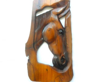 """Natural Old Teak Wood Hand Carved Horse Head Wood Carving Wall Hanging  Art Home Decor / Gift 16.5""""X8.8"""""""