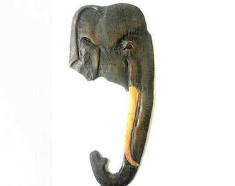 "Handmade Natural Teak Wood Carving Elephant Head Art Hand Carved Elephant Home  Wall Hanging Art Decor 16.75""x7.5"""
