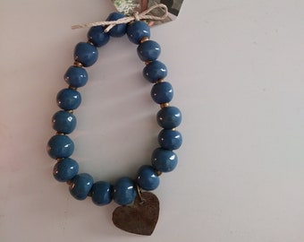 Blue Ceramic Bead Bracelet with Heart Charm