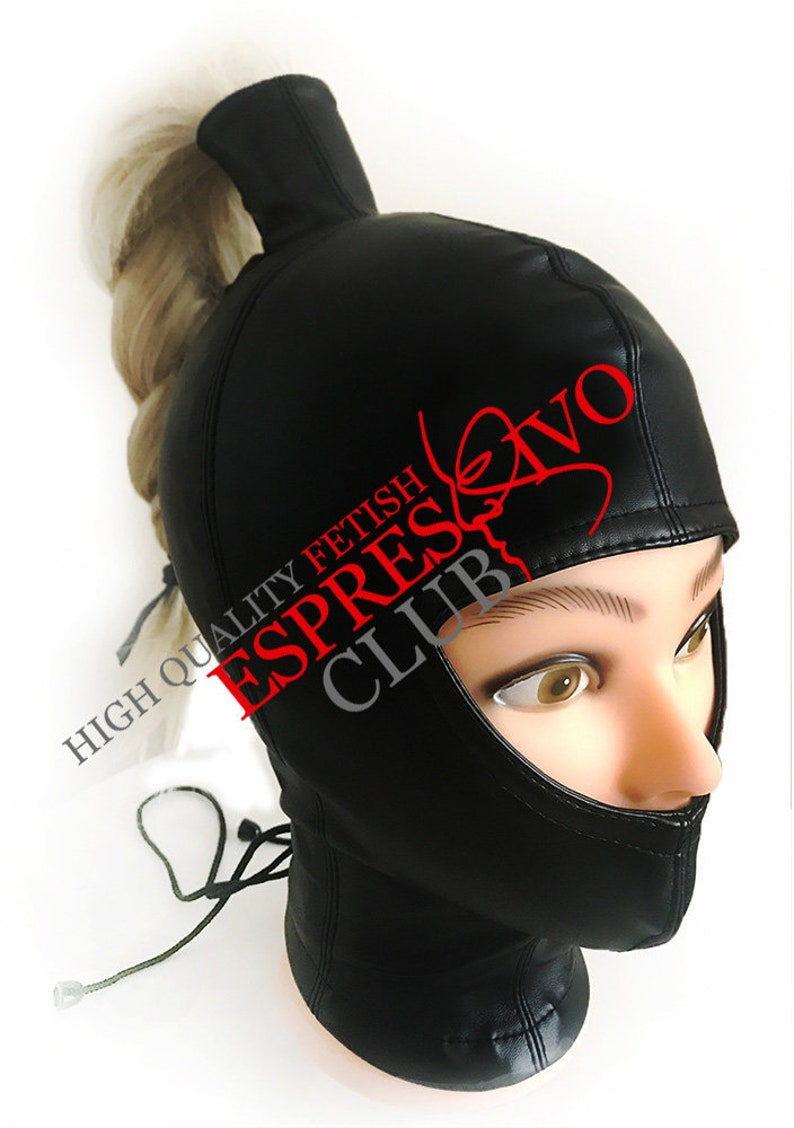 Sweet Gwen Hood with ponytail leather mask women Gwendoline