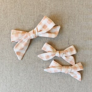 piggy set School girl bow polka dot bow pig tail bow set hand tied bow rifle paper bow floral bow cotton and steel bow