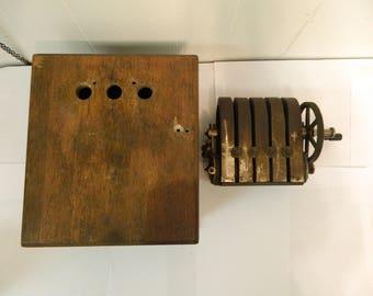 Antique Magneto Generator  & Bell Telephone Box