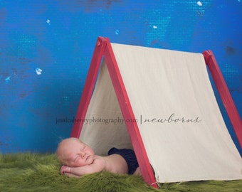 Play Tent - Canvas A-Frame Doll Tent | Newborn Photos | Stuffed Animals | Cake Tables | Product Display | Teepee