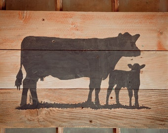 Rustic Cow and Calf Pair Sign - Natural Wood and Black Cow