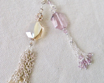 Swarovski Crystal and Chain Tassel Necklace