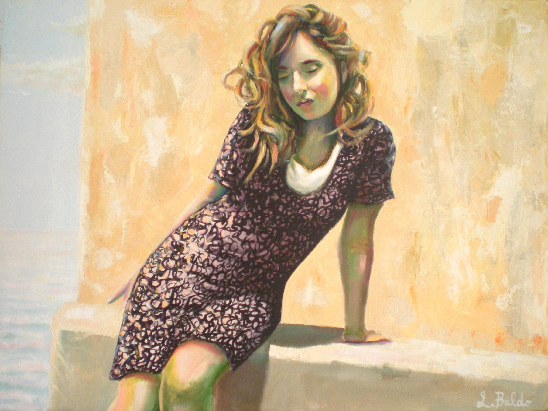 Quadro girl portrait mixed technique painting on canvas etsy