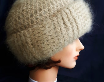 5345604ab0f Vintage women s hand knitted handmade hat woolen angora mohair warm made in  Italy