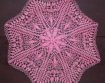 Pink crochet doily No.15