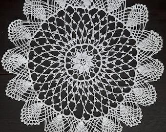 Off white  round crochet doily