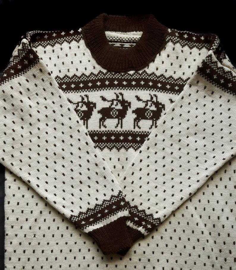 Vintage Handmade Knit Jacquard Pullover Mens Large