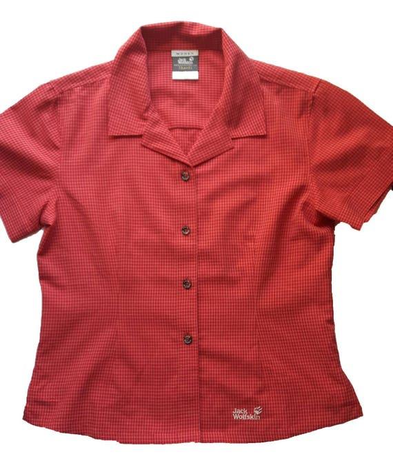dobra jakość Stany Zjednoczone duża zniżka Red plaid shirt blouse vintage Jack Wolfskin short sleeves