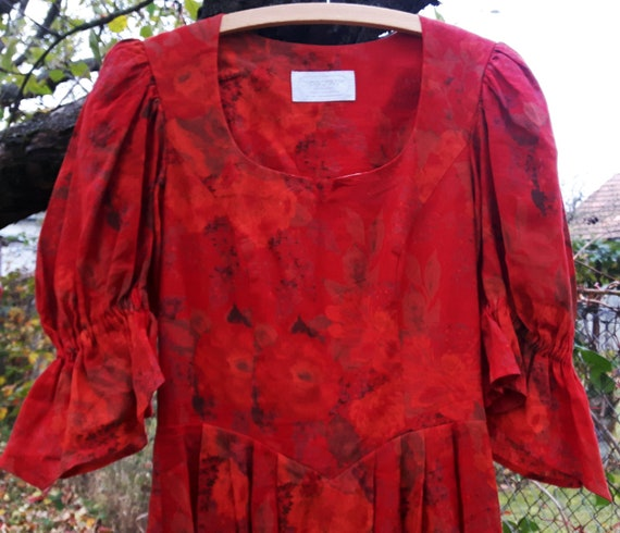 Vintage Dress Folk Medieval Costume Red Sportalm F