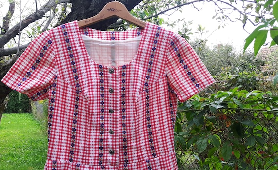 Vintage cotton checkered red white dress with blue