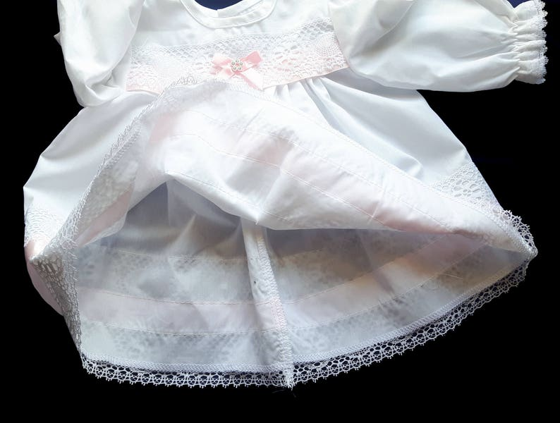 Vintage White Baby Girl Dress with Pink Ribbon White Lace Holiday Dress. 3-6 months Christening Dress
