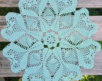 Turquoise crochet doily with hearts No.38