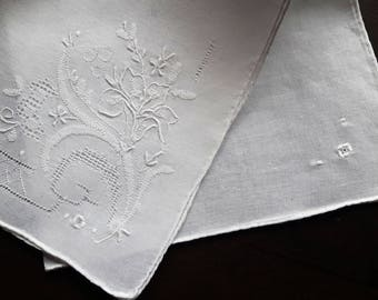 Vintage white embroidered handkerchief