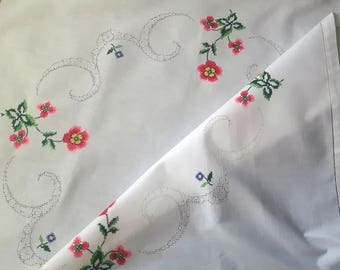 Vintage Cross Stitch Embroidered Square Tablecloth with Flowers