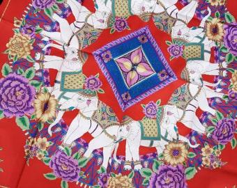 Vintage thai silk elephant scarf