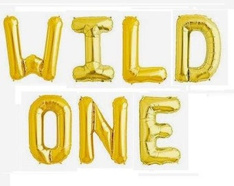 """16"""" Gold, Blue and Magenta Pink, Rose Gold Foil Balloons """"WILD ONE"""" Foil Balloons """"Same Day Shipping"""""""