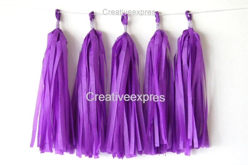 Birthday Baby Shower Wedding Party Same Day Shipping Tissue Paper Tassel Garlands 5 Purple Tassel Garlands DIY KIT